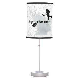 Rip the Net Hockey Player Gray Table Lamp