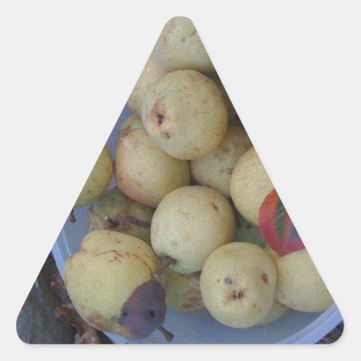 Ripe pears, and a weird leaf sticker