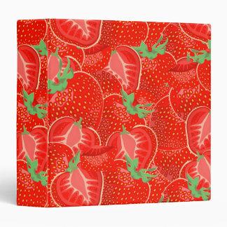 Ripe strawberry  pattern 3 ring binder