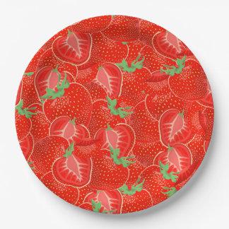 Ripe strawberry  pattern 9 inch paper plate