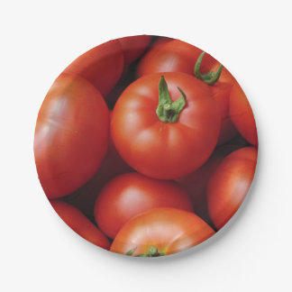 Ripe Tomatoes - Bright Red, Fresh Paper Plate