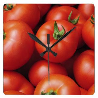 Ripe Tomatoes - Bright Red, Fresh Square Wall Clock