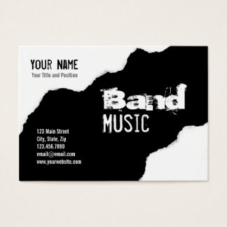 Ripped Black and White Band Grunge Graphic Business Card