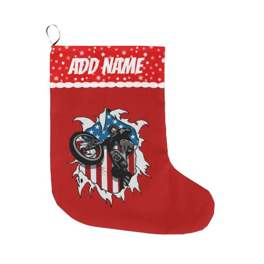 Ripped BMX Bicycle Large Christmas Stocking