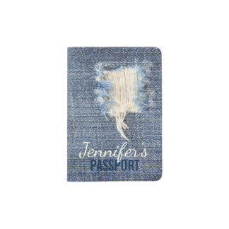 Ripped Jeans Look Passport Holder