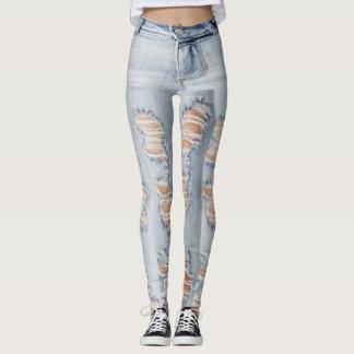Ripped Jeans Pattern Leggings