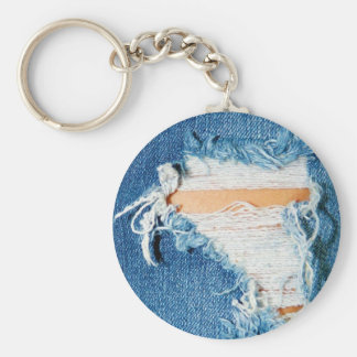 Ripped Torn Denim Blue Jeans Basic Round Button Keychain