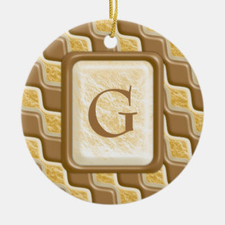 Rippled Diamonds - Chocolate Marshmallow Round Ceramic Ornament