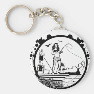 Ripples & NIbbles fishing outfitter logo Basic Round Button Keychain