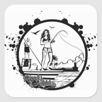 Ripples & NIbbles fishing outfitter logo Square Sticker
