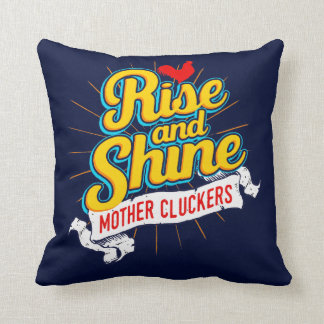 Rise and Shine Mother Cluckers Rooster Country Throw Pillow