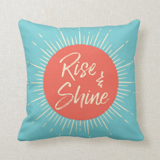 Rise and Shine sunburst blue and orange pillow