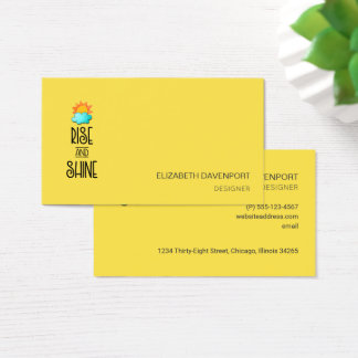 Rise and Shine Typography on Vivid Yellow Business Card