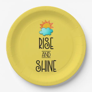 Rise and Shine Typography With Sun and Cloud 9 Inch Paper Plate