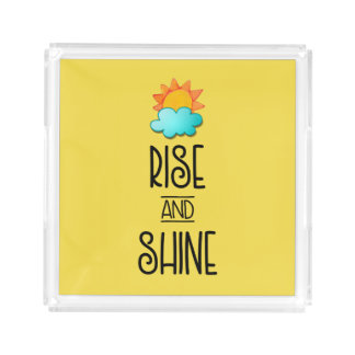 Rise and Shine Typography With Sun and Cloud Acrylic Tray