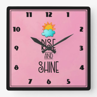 Rise and Shine Typography With Sun and Cloud Clocks
