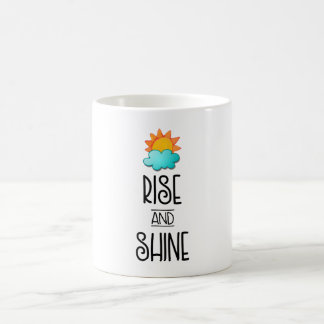Rise and Shine Typography With Sun and Cloud Coffee Mug