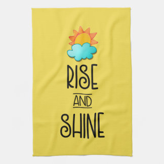 Rise and Shine Typography With Sun and Cloud Kitchen Towel