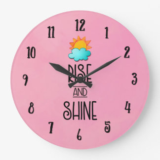 Rise and Shine Typography With Sun and Cloud Large Clock