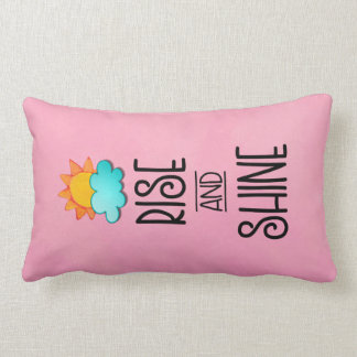Rise and Shine Typography With Sun and Cloud Lumbar Pillow
