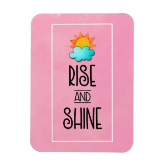 Rise and Shine Typography With Sun and Cloud Magnet