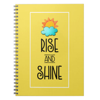 Rise and Shine Typography With Sun and Cloud Notebooks