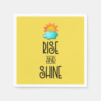 Rise and Shine Typography With Sun and Cloud Paper Napkin