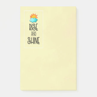 Rise and Shine Typography With Sun and Cloud Post-it Notes