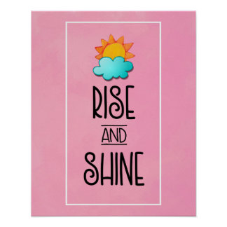 Rise and Shine Typography With Sun and Cloud Poster
