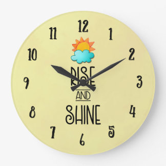 Rise and Shine Typography With Sun and Cloud Wall Clock