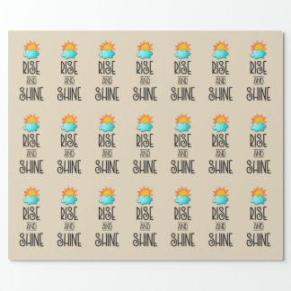 Rise and Shine Typography With Sun and Cloud Wrapping Paper