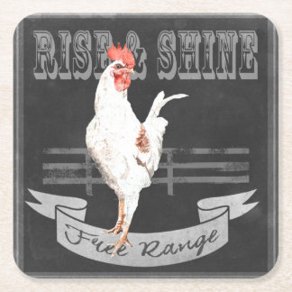 Rise & Shine Rooster Square Paper Coaster