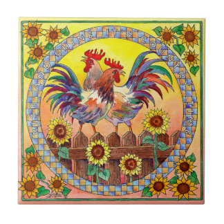 RISE & SHINE ROOSTERS by SHARON SHARPE Tile