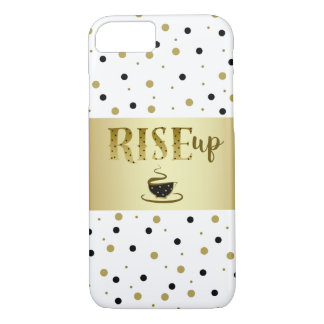 Rise Up Coffee Hot Golden Black Dots Shiny Chic iPhone 8/7 Case