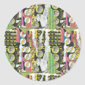 Rise Up Collage Pattern Classic Round Sticker