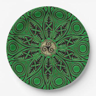 rish Green Celtic Triskele Mandala 9 Inch Paper Plate