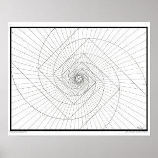 Rising Deosil Fibonacci Spiral Poster