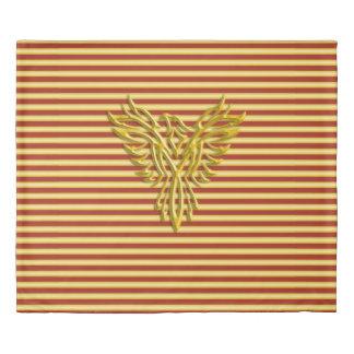 Rising golden phoenix on gold and scarlet stripes duvet cover