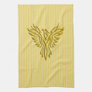 Rising golden phoenix with golden bands kitchen towel
