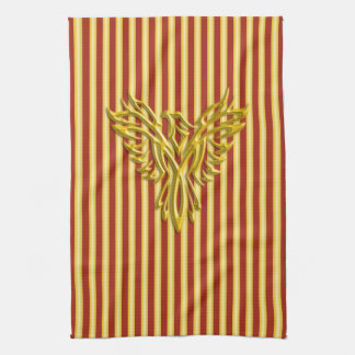 Rising golden phoenix with golden scarlet bands kitchen towel