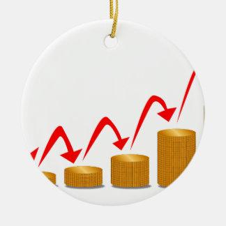 Rising Money Steps Round Ceramic Ornament