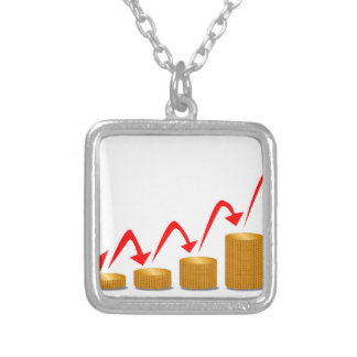 Rising Money Steps Silver Plated Necklace