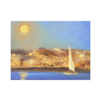 Rising Moon over the Marina Canvas Print
