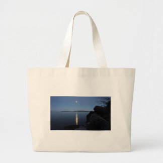 Rising Moon Over Whiskey Bay, St Joseph Island Large Tote Bag