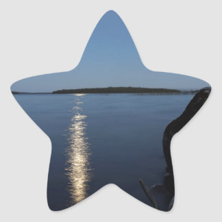 Rising Moon Over Whiskey Bay, St Joseph Island Star Sticker
