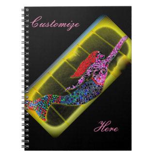 rising pink mosaic mermaid black spiral notebook