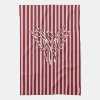 Rising pink phoenix with pink and maroon bands kitchen towel
