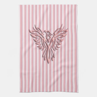 Rising pink phoenix with pink bands kitchen towel