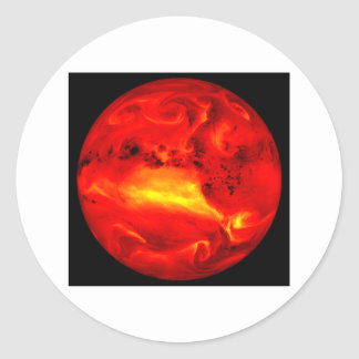 rising sun round sticker