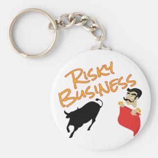Risky Business Basic Round Button Keychain